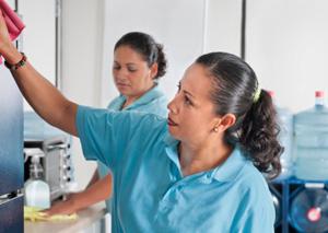 Cleaning women in office