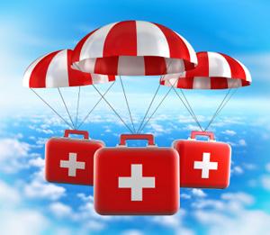 Medical supplies in parachute